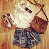 blouse,short,jewels,white blouse,bag,shirt,white converse,denim shorts,lace top,high waisted denim shorts,fringed bag,sunglasses,lace blouse,collar blouse,outfit,white,lace,shorts,denim,belt,brown,shoes,t-shirt,etnic,hippie,frange,converse,clothes,accesorize,accessories,summer,summer outfits,white sleeveless shirt,lace shirt,cut off shorts,sweet,braid,white shirt,white lace,handbag,collared shirts,button up,cute,preppy,ripped shorts,purse,lace dress,top,indie,indie boho,indie bag,boho,boho chic,boho shirt,hipster,hippie chic,jeans,blue jeans,short shorts,white top,classy,pretty,tumblr,tumblr outfit,tumblr clothes,tumblr shorts,instagram,ootd,tumblr ootd,beautiful,tank top,dressy