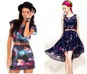 dress,flowy,high low,super nova,cute,prom,skirt,galaxy print,high-low dresses,high low prom dresses,prom dress