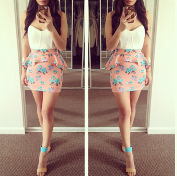 Dress: pink, turquoise, skirt, high heels, heels, floral skirt ...