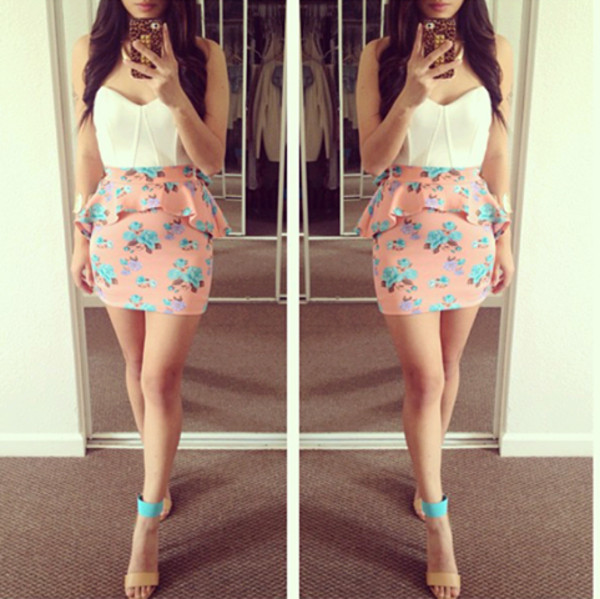 dress pink turquoise skirt high heels heels floral skirt floral floral dress peplum skirt peplum cute outfits outfit cute pretty girly girly blouse shoes shirt super cute