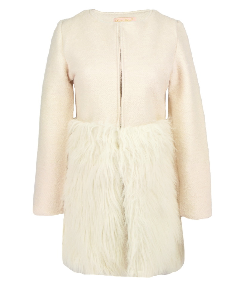 Ulyana sergeenko paris beige white wool long coat with faux fur hem patchwork