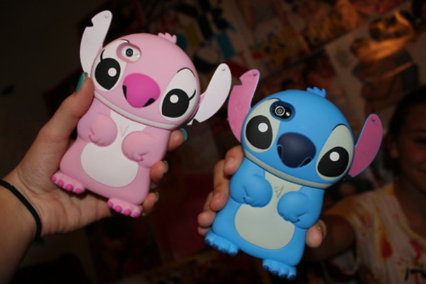 jewels studded iphone case bag phone cover lelo & stitch cute pink blue lilo and stitch
