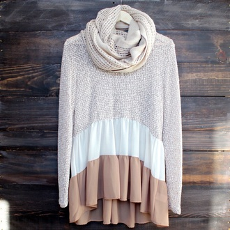 blouse sweater taupe layers