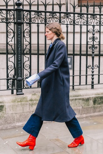 shoes boots red boots coat blue coat jeans denim blue jeans wide-leg pants