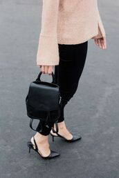 bag,tumblr,pants,black pants,black backpack,backpack,sandals,black shoes,slingbacks,mini backpack,bell sleeve sweater