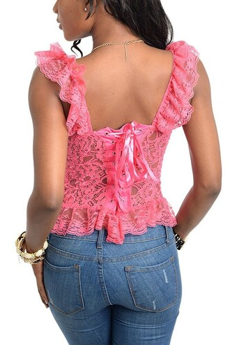 top pink lace ruffle straps lace up back sheer cute girly adorable af
