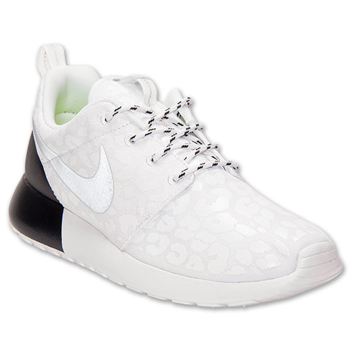 Women's Nike Roshe Run Premium Casual Shoes | FinishLine.com | White/Reflective/White/Black