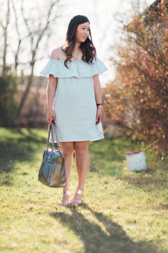 sandy a la mode blogger jewels bag off the shoulder blue dress teal silver bag