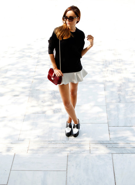 style heroine sweater shoes jewels sunglasses skirt bag