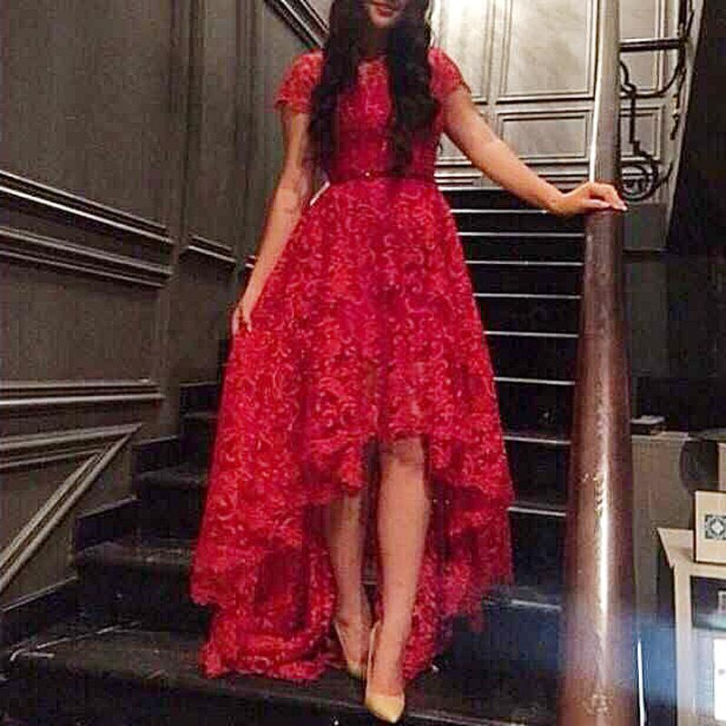 Short Sleeve Red Lace Prom Dress