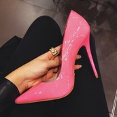 shoes,pink,pumps,heels,pink heels,pink pumps,sexy,hott,pink heels high neon,high heels,pink high heels,cute,cute shoes,leather,pink shoes,pointed toe,high heel pumps,pointed toe pumps