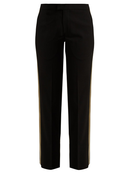 WALES BONNER Mid-rise tailored wool-blend trousers in black / multi