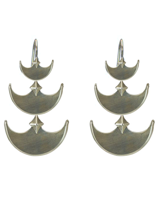 Pit & Pendelum Earrings in White Bronze