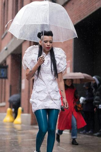 dress nyfw 2017 fashion week 2017 fashion week streetstyle mini dress white dress leggings blue leggings vinyl umbrella