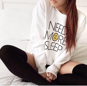 t-shirt,band t-shirt,print,need more sleep,white,white t-shirt,long,long sleeves,sweater,cozy,cozy sweater,winter sweater,winter outfits,fall outfits,fall sweater,shirt,top,tank top,holiday season,holographic,graphic tee,knee high socks,high socks,black,black and white,fashion,classy,sexy,style,cute,hot,outfit,frowny face,freshtops,socks