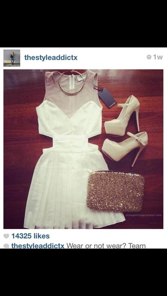 dress white dress cut-out dress