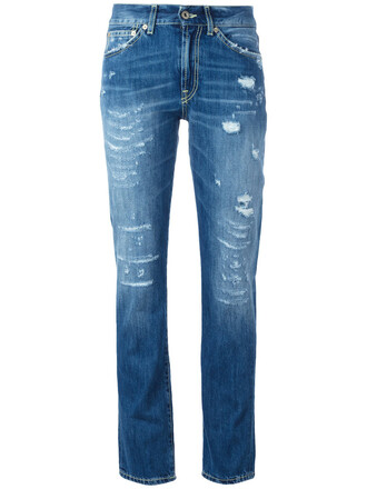 jeans women ripped cotton blue