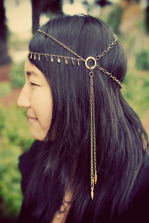 Tribal brass chain headdress hair chain headband par ayapapaya