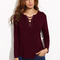 Burgundy lace up long sleeve t-shirt -shein(sheinside)