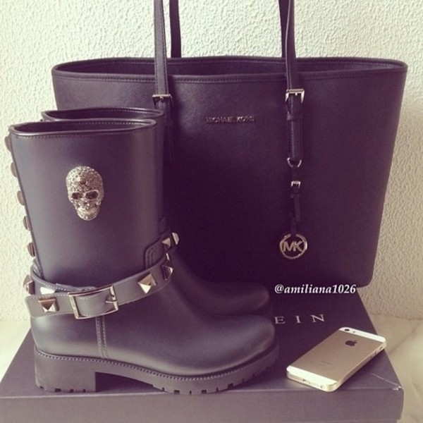 shoes boots black bag skull micheal kors matt black