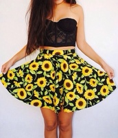 pants,skirt,sunflower,yellow,bralette,lace bralette,lace black bralette,black bralette,printed skirt,printed mini skirt,sunflower print,sunflower printed skirt,circle skirt,printed circle skirt,sunflower circle skirt,top,coat,sunflower skater skirt,daisy skirt,skater skirt,sunflower skirt,bustier,strapless,outfit,crop tops,black crop top,shirt,sun flower,floral,black,lace,cute