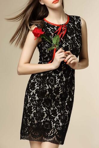 dress dezzal lace dress sleeveless black dress red style fashion bodycon dress