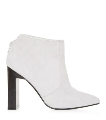 Grey Suede Block Heel Boot