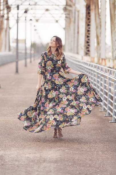 570e54b68d2 dress tumblr three-quarter sleeves floral floral dress floral maxi dress  maxi dress long dress