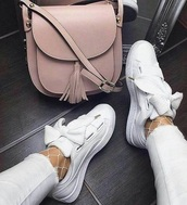 bag,crossbody bag,pink,blush,shoes,sneakers with bow laces,white sneakers,sneakers