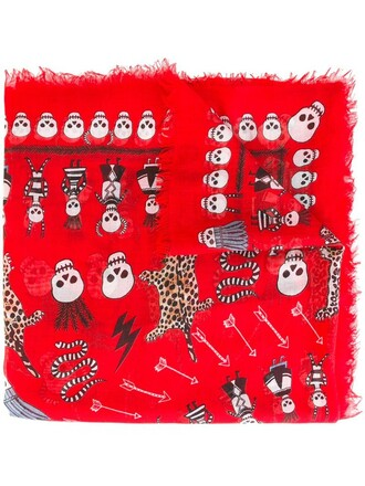 skull women scarf print silk red