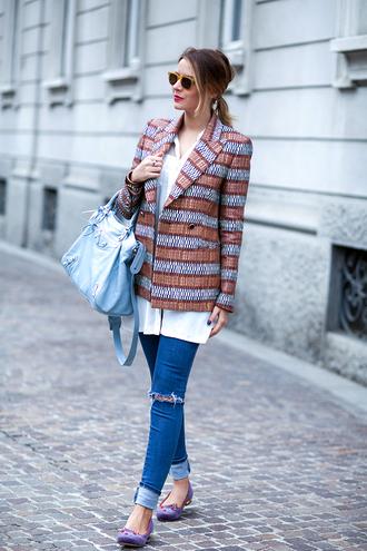 jacket blogger sunglasses jeans bag jewels the fashion fruit pattern ring bracelets white shirt ballet flats