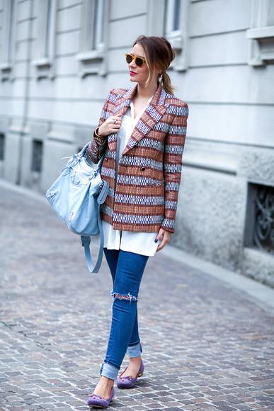 blogger jeans ballet flats jacket bag sunglasses jewels white shirt the fashion fruit pattern ring bracelets