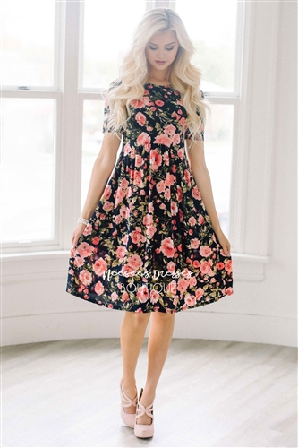 a9e6ffd13ece Navy Pink Floral Pocket Modest Dress | Best Online Modest Boutique for  Dresses | Cute Modest ...