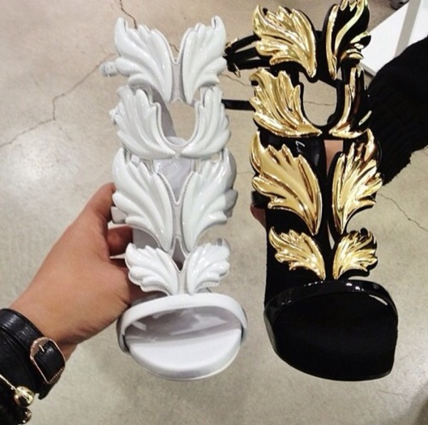 shoes white wings black and gold heels high heels black heels style fashion gold leafs pumps strappy heels gold and black shoes white shoes