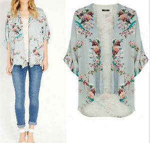 Short Sleeve Flower Bird Print Kimono Cardigan Poncho Top Blouse ...