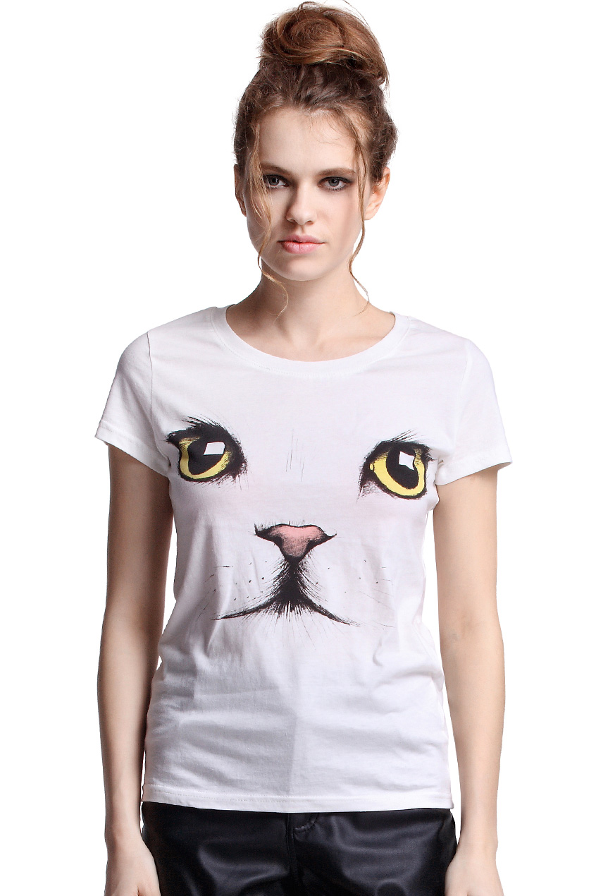 ROMWE | Cat Face White T-shirt, The Latest Street Fashion