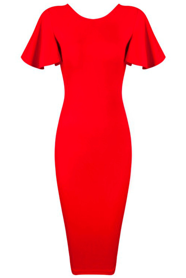 Butterfly Sleeve Bodycon Midi Dress Red