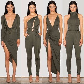 dress green olive green romper green romper olive romper olive dress green dress nude heels heels nude sleek sleeves cute sexy sexy dress tight bodycon dress racy gorgeous dress gorgeous fashion strings hot hot dress hot romper sleeveless skin tight plunging neck line plunging neckline cute outfits turtleneck turtleneck dress