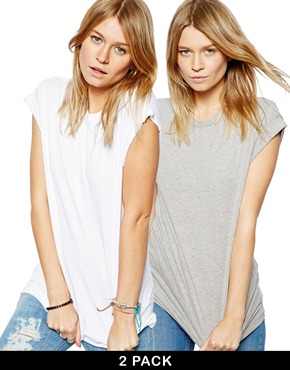 ASOS | ASOS Boyfriend T-Shirt with Roll Sleeve 2 Pack SAVE 20% at ASOS