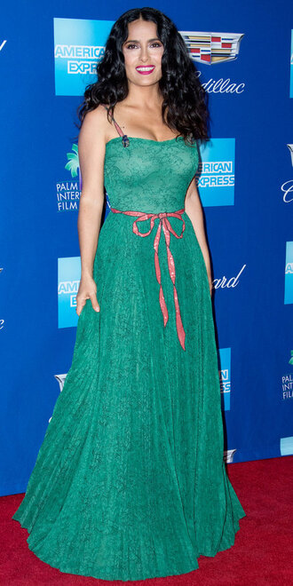 dress gown salma hayek maxi dress green green dress red carpet dress
