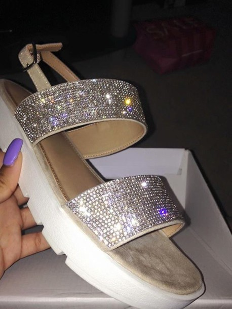 shoes, sparkly shoes, sandals, nude