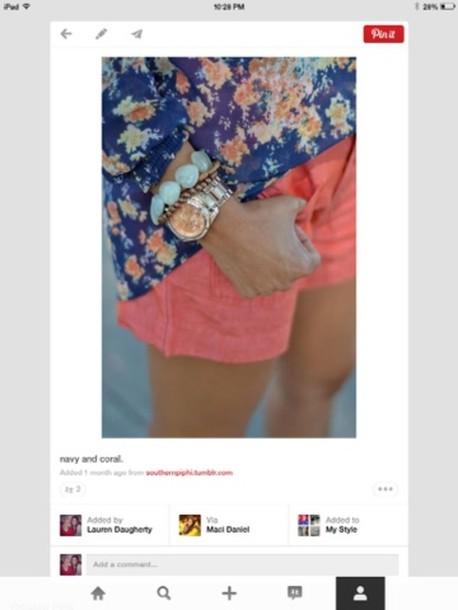 shorts floral shirt coral navy yellow tan