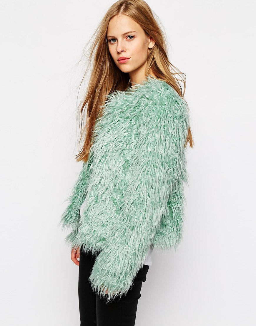 Vila shaggy faux fur jacket at asos.com