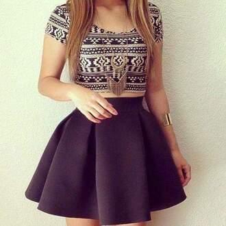 skirt black tribal pattern crop tops circle skirt tribal shirt gold chain gold necklace gold jewelry black skirt