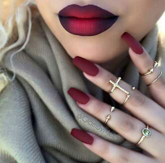 make-up lipstick red lipstick lipgloss tube nail polish nail art fake nails finger nails beautiful cosmetics mac cosmetics jewels pretty red nails grey scarf jewelry knuckle ring ring rings and tings