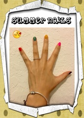 nail polish,summer/spring nails,funny,colorful,rainbow,trendy,pandora charms bracelet
