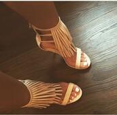 shoes,fringe heel,high heels,open toe high heels,fringes,fringe heels,faux fringe ankle heels,fringe shoes,nude heels,nude,strappy,heels,tan,nude high heels,tan fringe heels,single strap heels