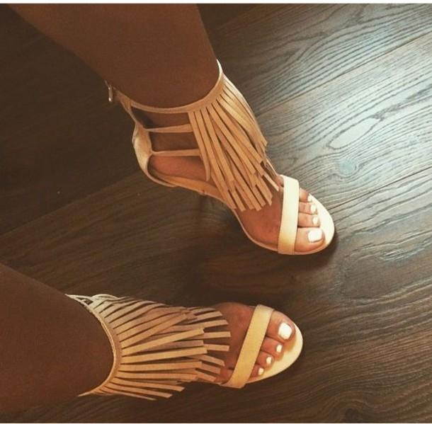 shoes fringe heel high heels open toe high heels fringes fringe heels faux fringe ankle heels fringe shoes nude heels nude strappy heels tan nude high heels fringes tan fringe heels single strap heels