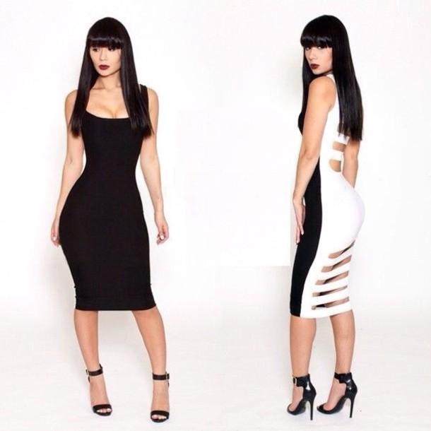 Black And White Dress Outfit Dress Black White Bodysuit