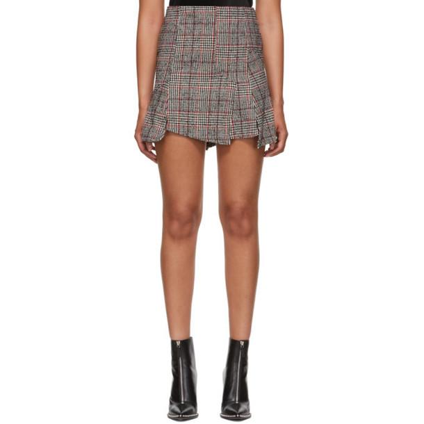 McQ Alexander McQueen Black & Red Cut Up Check Miniskirt